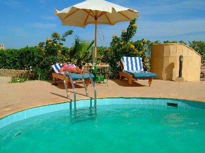 The pool 4 steps off our terrace & only a few steps away