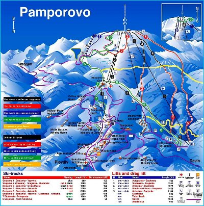 Pamporovo Piste Map - North & South sides.