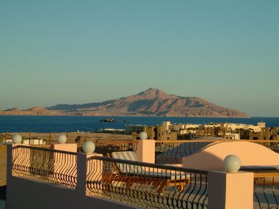 From the roof terrace Tiran Island on The Tiran Strait in The Gulf of Aquaba